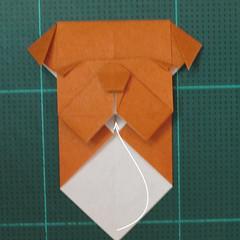 วิธีพับกระดาษเป็นที่คั่นหนังสือรูปหมาบูลด็อก (Origami Bulldog Bookmark) 018
