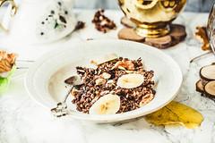 Homemade chocolate granola with banana and peanut…