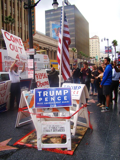 Hollywood Trump Rally - Flag over Smashed Walk of Fame Star