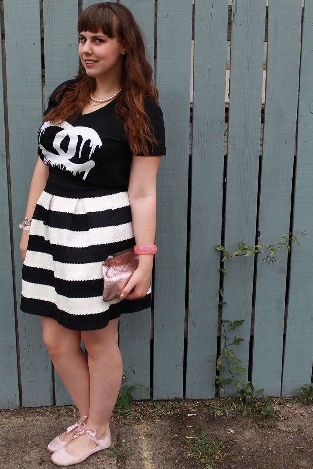 "Black and white striped bubble skirt ""Scalloped Stripes Ponte Skirt"" by Girls from Savoy for Anthropologie, Zevs dripping Chanel logo t-shirt, pink satin ballet flats with ankle ties, carved rose bangle, rose gold Marc Jacobs for Target pouch"