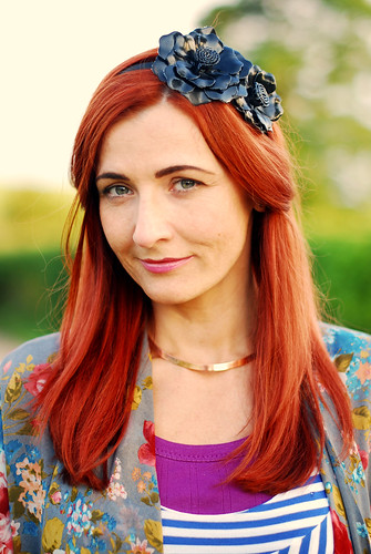 Red hair & black floral headband