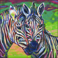 art(1.0), zebra(1.0), painting(1.0), mural(1.0), psychedelic art(1.0), illustration(1.0), modern art(1.0), acrylic paint(1.0),