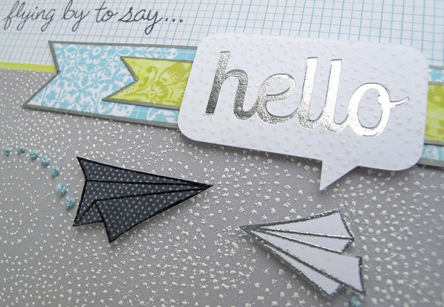 hello speech bubble cut file with silver leafing in behind