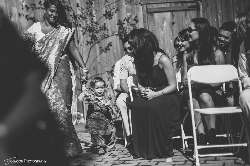 Sister and flower girl in sari