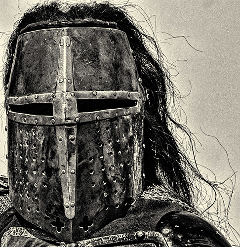 Black Knight's helmet (black and white) by joeeisner