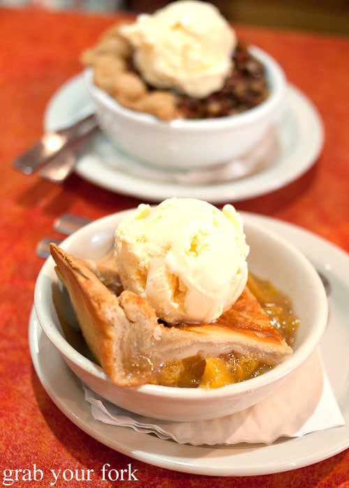 peach cobbler a la mode ice cream at hoover's cooking austin texas