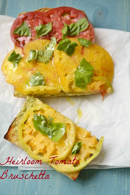 Heirloom Tomato Bruschetta via LittleFerraroKitchen.com