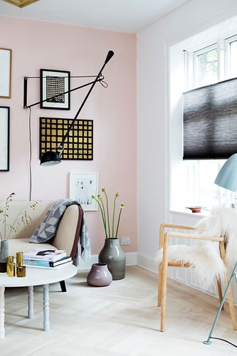 pink wall (corner) designed by Mette Helena Rasmussen and photographed by Tia Borgsmidt via Nordic Design