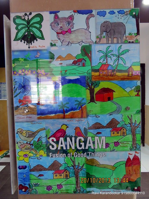 Paintings by the Children in the entrance lobby - Handing Over Ceremony of Sanjeevani Developers' Sangam at Sus on Sunday 20th October 2013