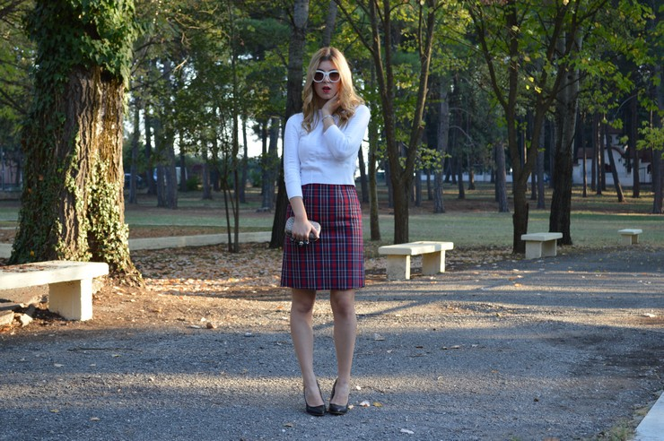 check skirt white top 12