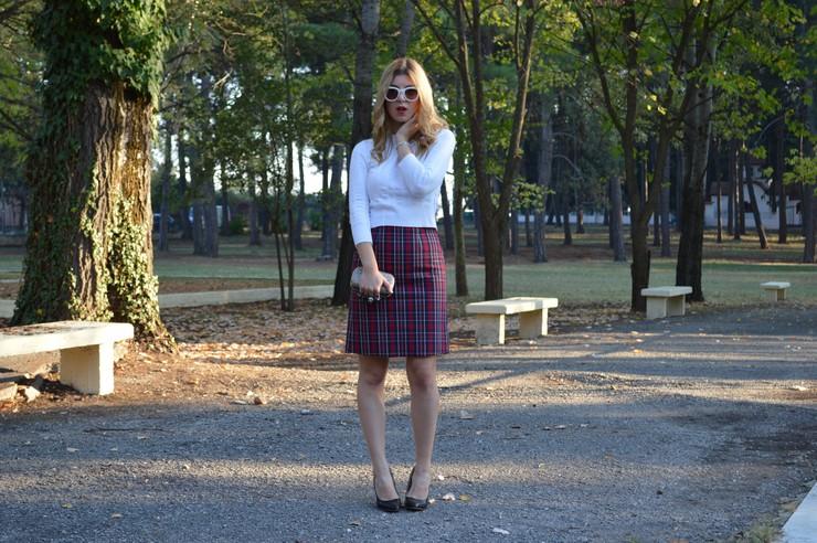 check skirt white top 12