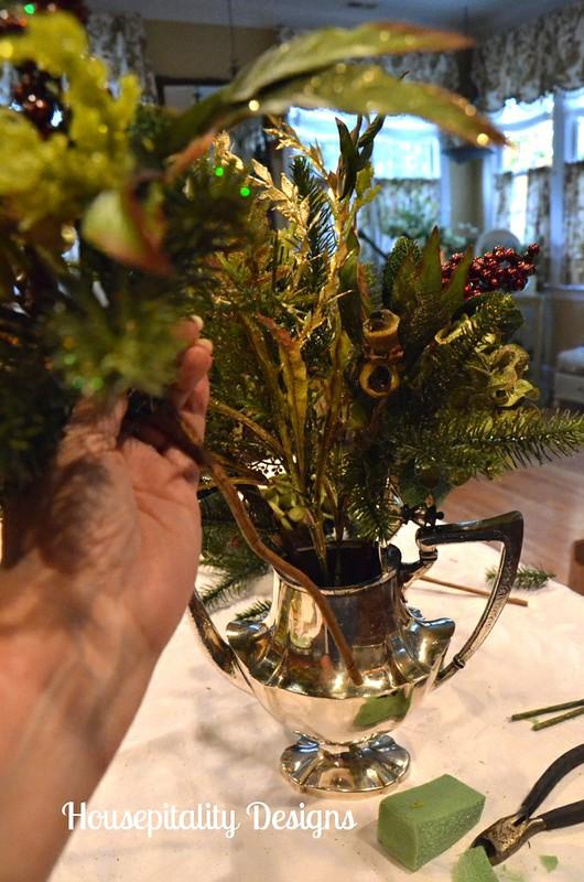 Christmas Arrangement in Vintage Silver Teapot