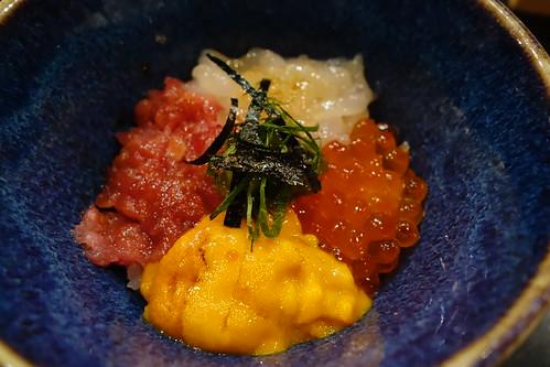 Kaisen Chirashi Don with Toyama Shiro Ebi (White Shrimps), Hokkaido Uni (Sea Urchin), Hokkaido Hotate (Scallops) & Kagoshima Maguro (Tuna). IKYU.
