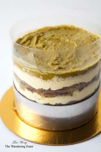 My homemade birthday cake - The Pistachio Lemon Cake from Momofuku Milk Bar's cookbook