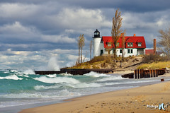 Gales of November Point Betsie Lighthouse by Michigan Nut