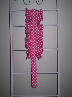 My first 'Starling Dress' ruffle. Crimson pink and white spotted quilting cotton.