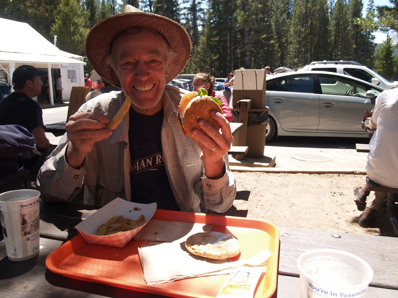 Me, eating a tasty burger and extra-salty fries at the Tuolumne Meadows Grill, back in civilization after ten days in the backcountry