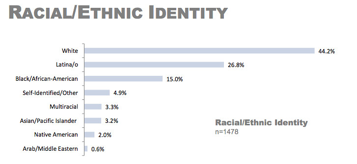 chart shows that white people make up 44 percent of victims and survivors of violence