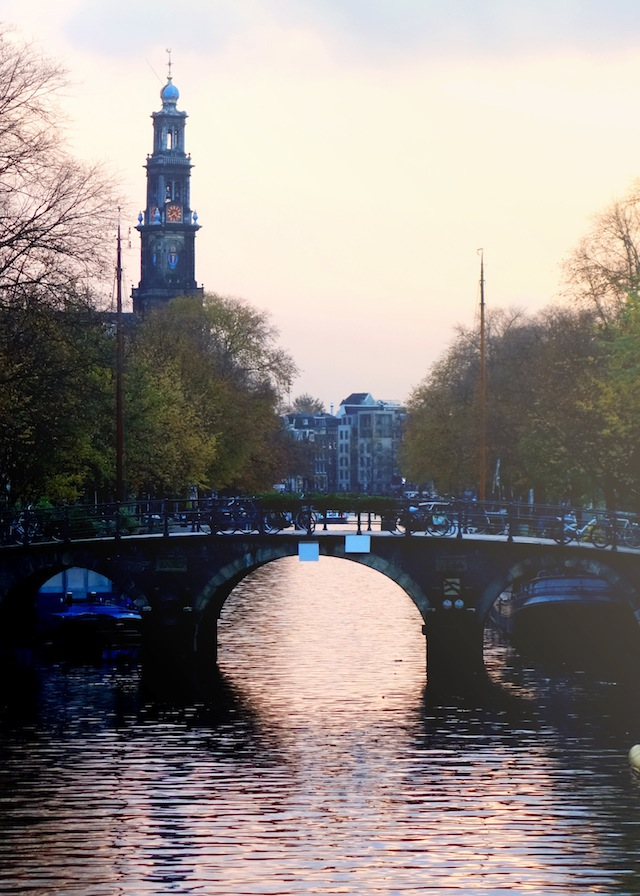 Amsterdam winter sunset Westerkerk Singel