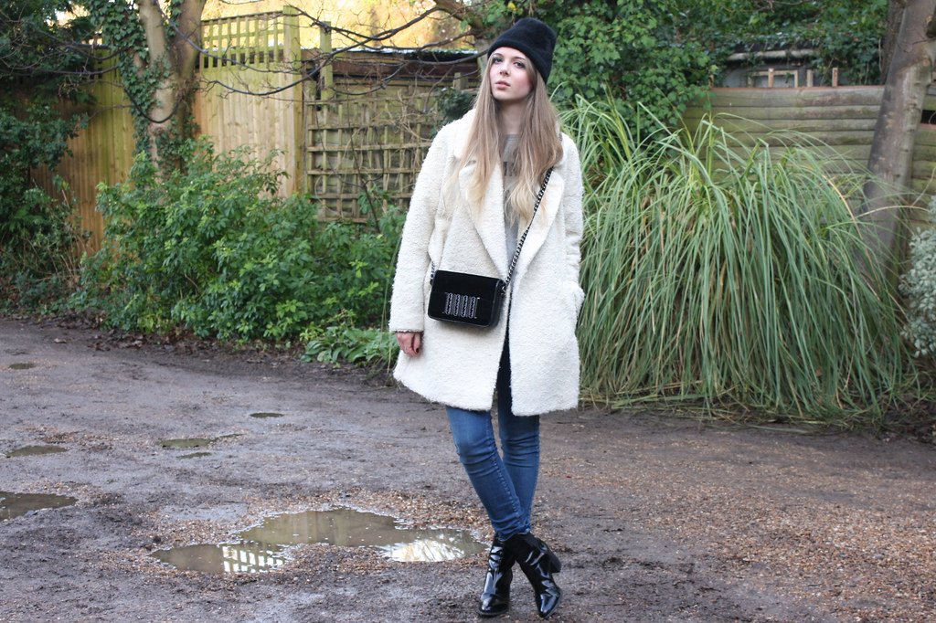 River Island cream shearling coat