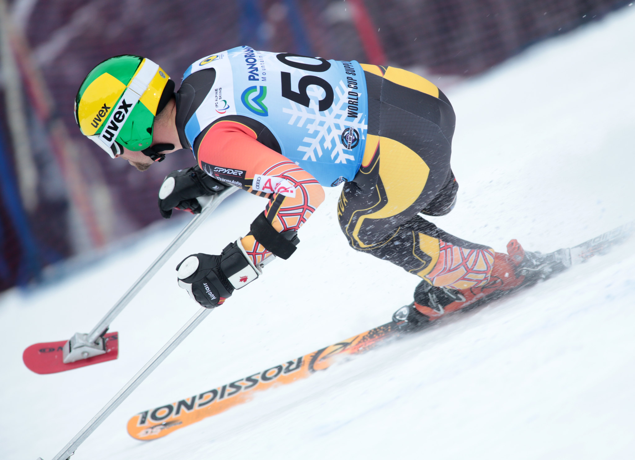 Matt Hallat in action during the Super-G in Panorama, CAN