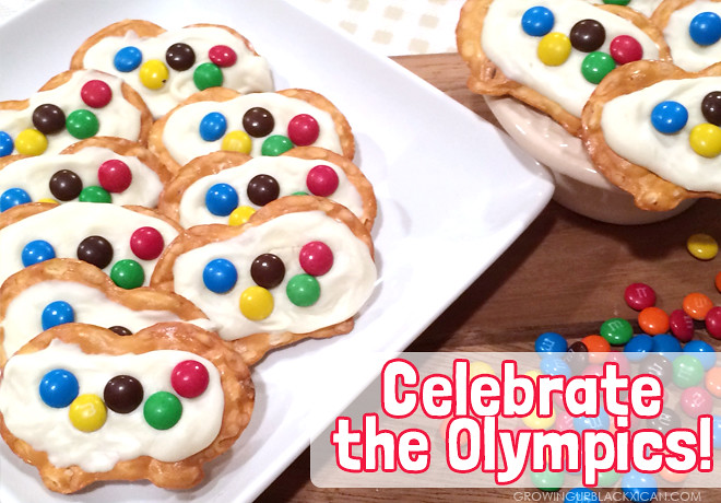 olympic flag chocolate pretzel bites_mandm choclate flag