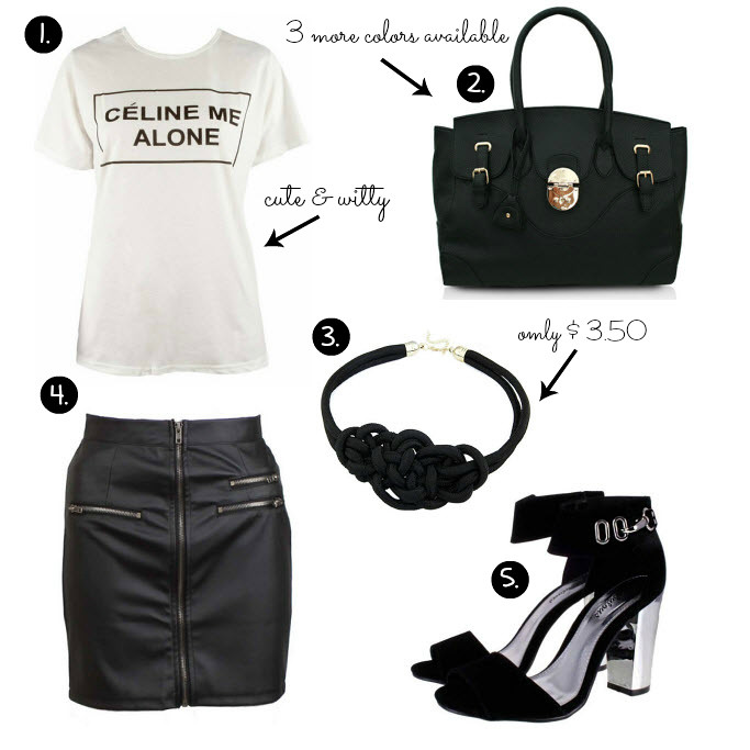 Cheap Friday- Ebay bargains #21. Maddie's guide on Ebay clothing, shoes and accessories. This weeks Ebay bargains include items like celine me alone shirt, black bag with a nig buckle, knot necklace, mirror black sandals heels, leather pu skirt with zippers