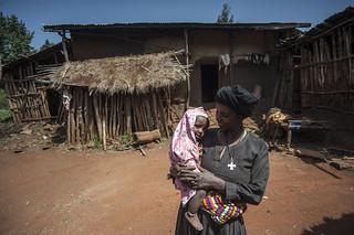 Breast Feeding-Yedeneku Aynalem 38 with her son Barkelegn 10 month
