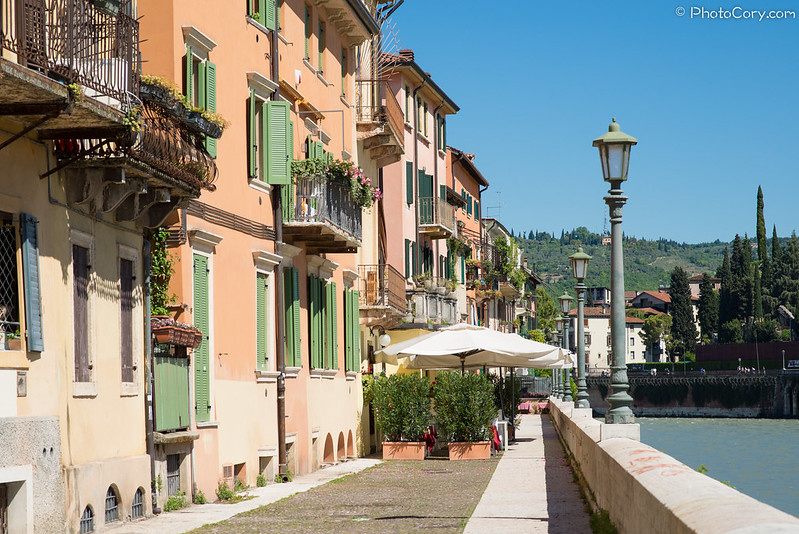 Verona, houses on river Adige