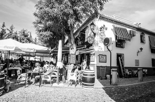 Packed Bar Tiki near the Mirador San Nicolás in Granada's Albayzín neighborhood.