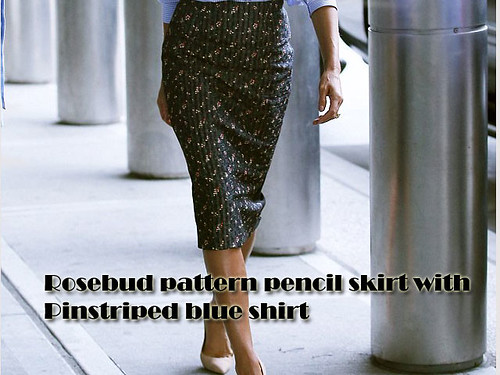 Pinstriped-blue-shirt-with-a-rosebud-pattern-pencil-skirt