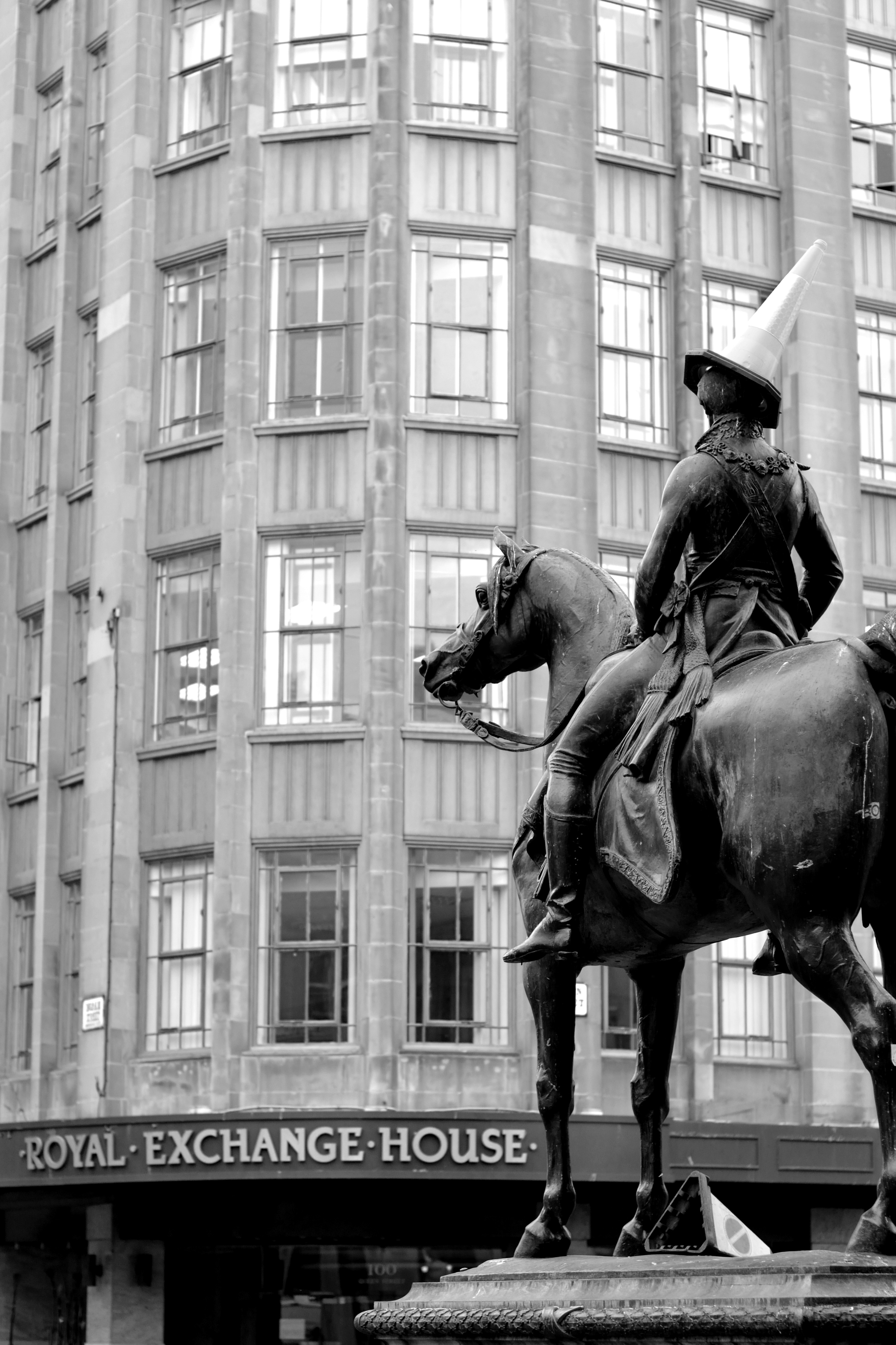 Duke of Wellington statue in Royal Exchange Square, Glasgow.