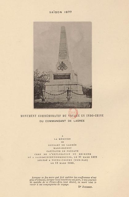 SAIGON 1877 - Đài kỷ niệm Doudart de Lagrée (1823-1868), nhà thám hiểm sông Mekong người Pháp, chết ở Vân Nam TQ
