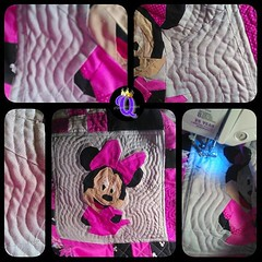 This morning... finished #echostitching around #Minnie before the little people arrived. I can see much improvement over my first attempt of echoing...#practice and this new #opentoedarningfoot made a big difference  #sewing #quilting #Disney  #fandominst
