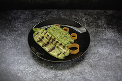 grilled zucchini with pea mash..