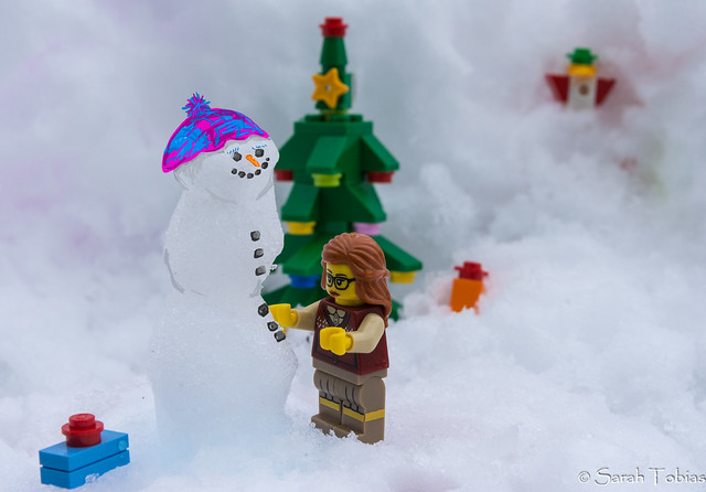 Lego Librarian Builds a Snowman