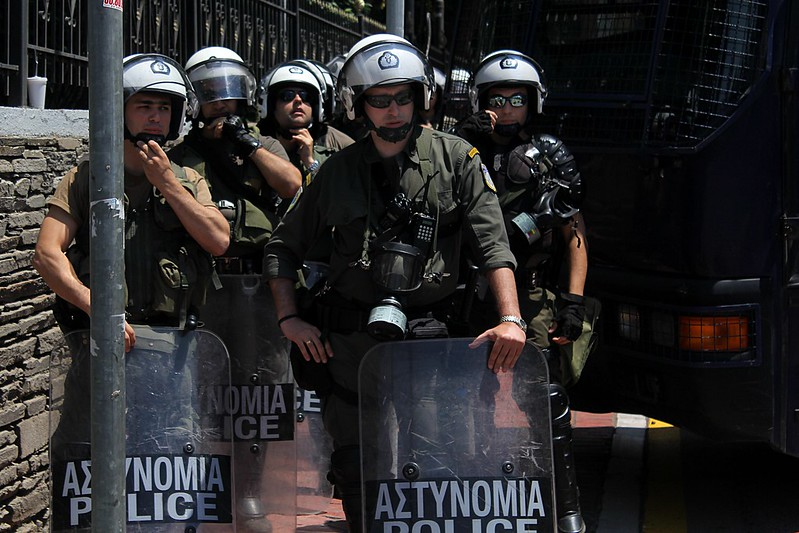 Heavy riot police presence around  ERT studio in Thessaloniki, Greece