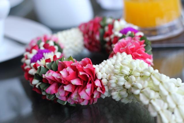 A fresh garland of Thai flowers