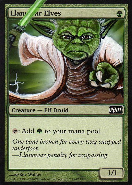 Llanowar Elves Altered Art magic the gathering artwork Donnie Dana