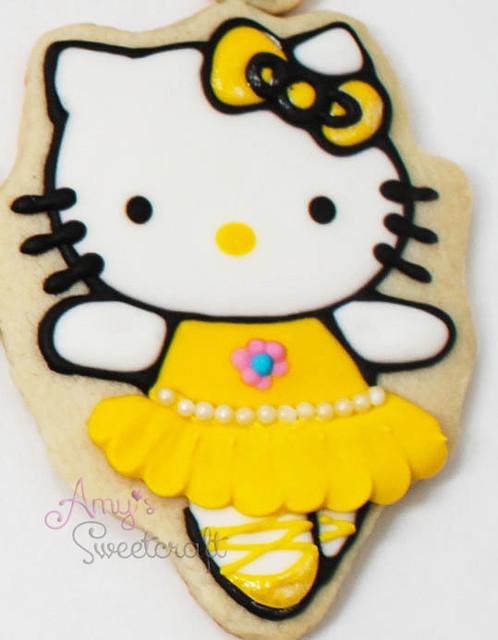 Ballerina hello kitty yellow spin custom cookie flickr - Ballerine hello kitty ...