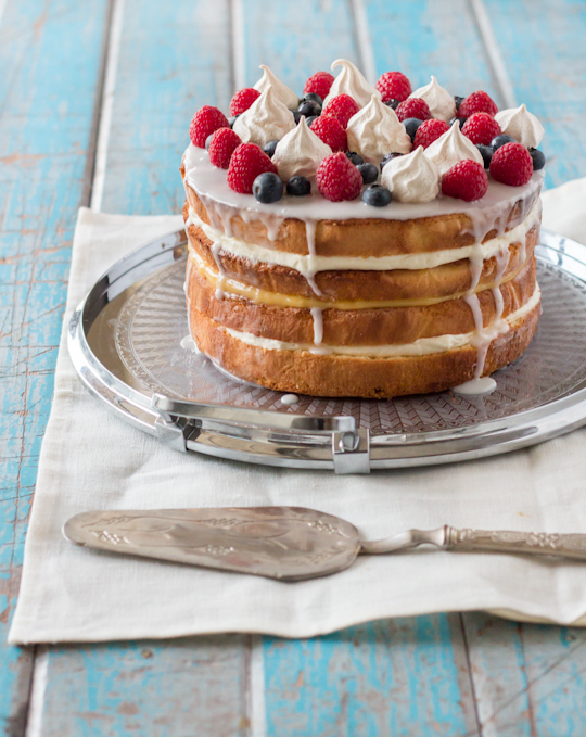 Cream & Lemon Curd Layered Sponge with Berries & Meringue