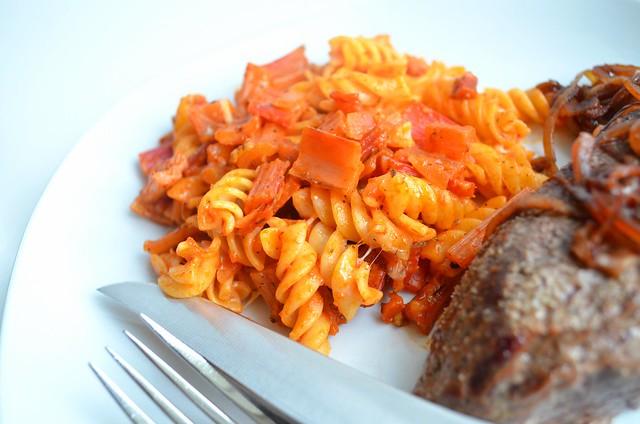 Steak w/ pasta & chard