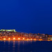 A sequence of full moon photos over the city of Kavala, Greece