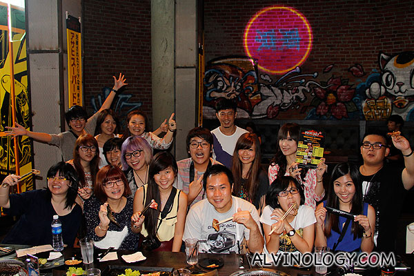 Large group dining with omy Blog Club bloggers
