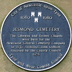Photo of Jesmond Cemetery Chapel and John Dobson blue plaque