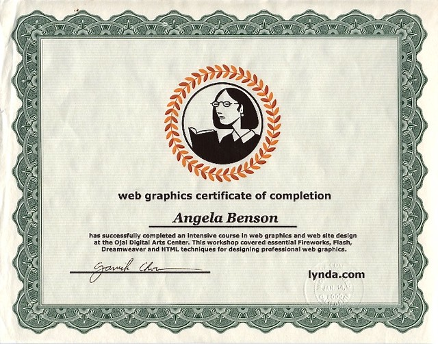 Lynda.com Web Graphics Certificate of Completion, Ojai, CA December 1999