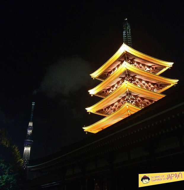 Asakusa - Gojunoto - 5 story Pagoda at night - Skytree