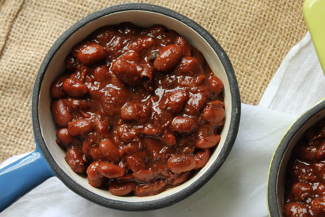 Slow Cooker Maple Bourbon Baked Beans | Stephie Cooks