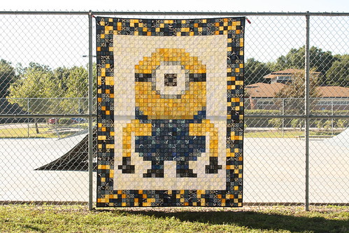 The pixelated minion quilt - done!