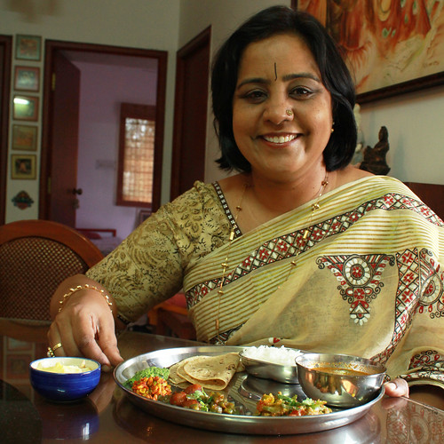 Pratibha Jain enjoys Gujarati meal
